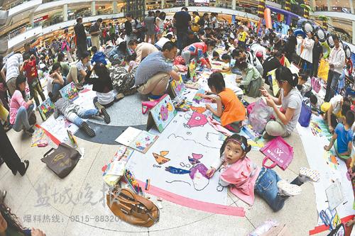 """""""书香盐城·放飞梦想""""的少儿绘画大赛.选手们参赛的儿童画、素图片"""